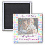 Pastel Diamonds Save The Date Photo Magnet