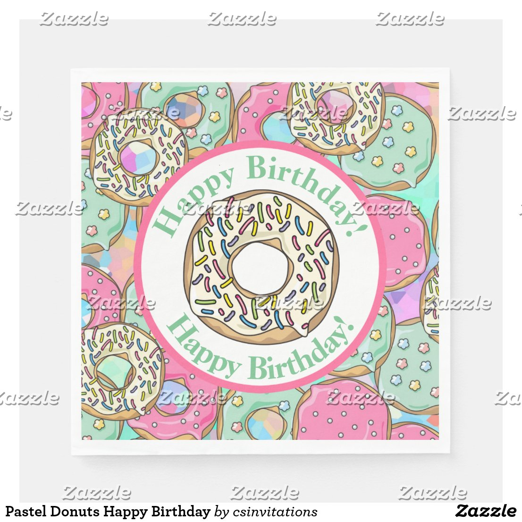 Pastel Donuts Happy Birthday