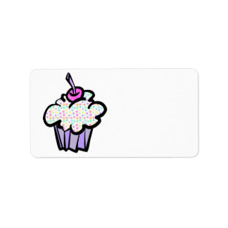 pastel dots cupcake address label