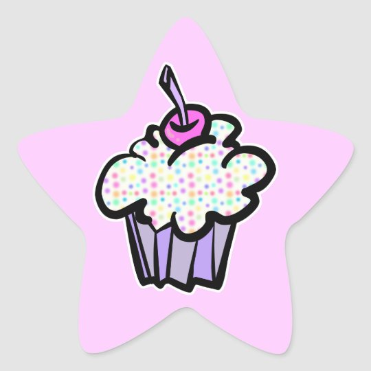 pastel dots cupcake star sticker