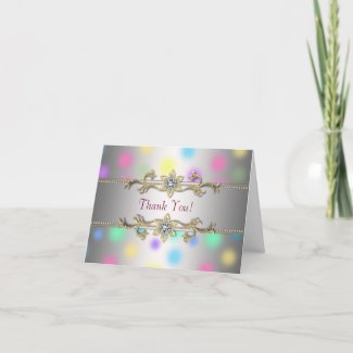 Pastel Dots Jewel Gold Thank You Cards card