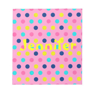 Pastel Dots on pink with name Memo Note Pad