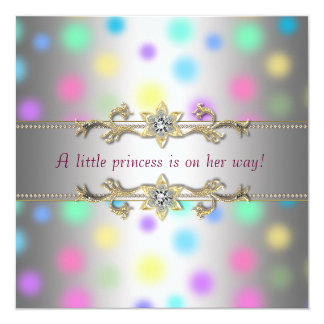 Pastel Dots Princeess Baby Shower Custom Invites