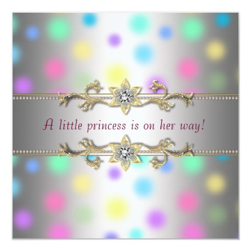 Pastel Dots Princeess Baby Shower 5.25x5.25 Square Paper Invitation Card