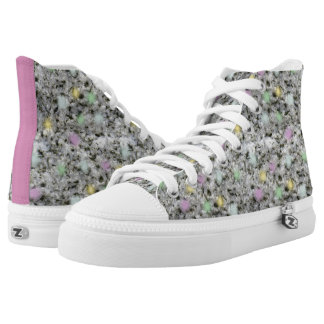 Pastel Dotted White Granite Texture Printed Shoes
