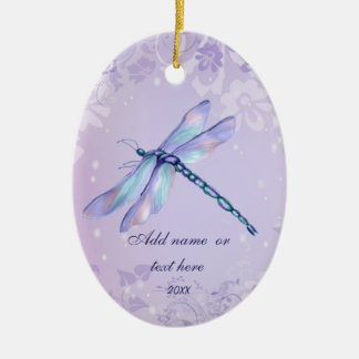 Pastel Dragonfly Double-Sided Oval Ceramic Christmas Ornament