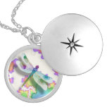 Pastel Dragonfly Locket Necklace