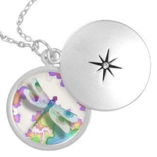 Pastel Dragonfly Locket Necklace