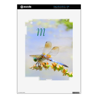 Pastel Dragonfly Monogram Tablet Skin Decals For iPad 2