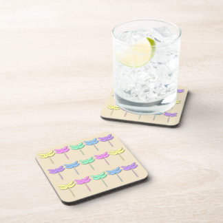 Pastel Dragonfly Pattern Drink Coaster Set