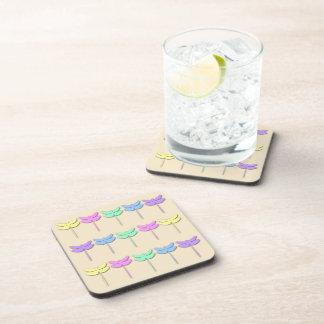 Pastel Dragonfly Pattern Drink Coaster Set