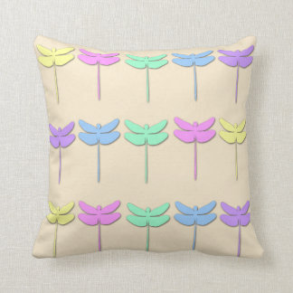 Pastel Dragonfly Pattern Throw Pillow