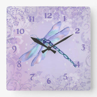 Pastel Dragonfly Square Wall Clock
