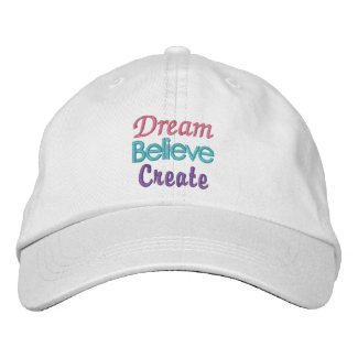 Pastel Dream, Believe, Create Embroidered Hat
