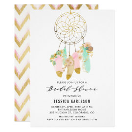 Pastel Dreamcatcher Faux Gold Foil Bridal Shower Card