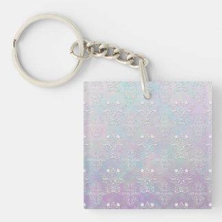 Pastel Dreams Damask Pattern Single-Sided Square Acrylic Keychain