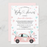 Pastel Drive by baby shower car watercolor hearts Invitation