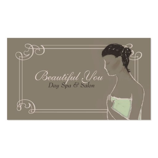 Pastel Earth Tones Lady Day Spa Business Cards