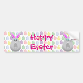 Pastel Easter Bunny Eggs Bumper Sticker