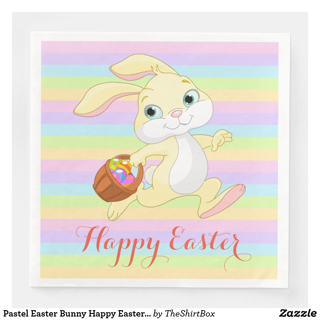 Pastel Easter Bunny Happy Easter Napkins