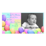 Pastel Easter Eggs Baby Announcement Photo Card