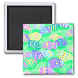 Pastel Easter Eggs in Grass Refrigerator Magnet