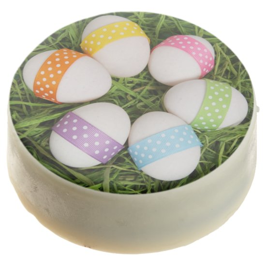 Pastel Easter Eggs on Grass Chocolate Dipped Oreo