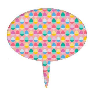 Pastel Easter Eggs Two-Toned Multi on Blush Pink Cake Picks