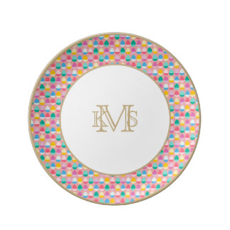 Pastel Easter Eggs Two-Toned Multi on Blush Pink Dinner Plate