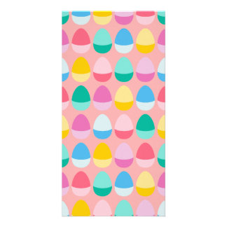 Pastel Easter Eggs Two-Toned Multi on Blush Pink Photo Card