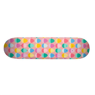 Pastel Easter Eggs Two-Toned Multi on Blush Pink Skateboard Deck