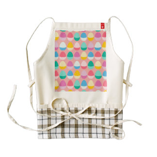 Pastel Easter Eggs Two-Toned Multi on Blush Pink Zazzle HEART Apron
