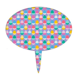 Pastel Easter Eggs Two-Toned Multi on Lilac Cake Toppers