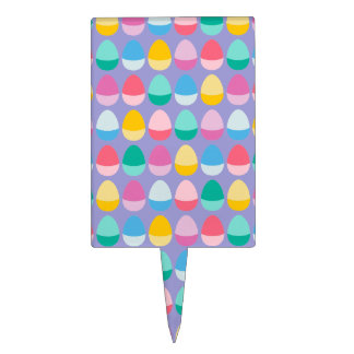 Pastel Easter Eggs Two-Toned Multi on Lilac Cake Topper