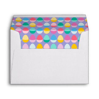 Pastel Easter Eggs Two-Toned Multi on Lilac Envelopes
