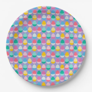 Pastel Easter Eggs Two-Toned Multi on Lilac Paper Plate