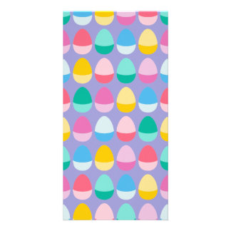 Pastel Easter Eggs Two-Toned Multi on Lilac Photo Card