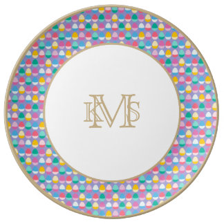 Pastel Easter Eggs Two-Toned Multi on Lilac Porcelain Plate