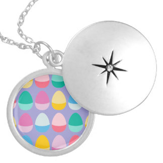 Pastel Easter Eggs Two-Toned Multi on Lilac Round Locket Necklace