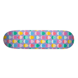 Pastel Easter Eggs Two-Toned Multi on Lilac Skateboard Deck