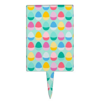 Pastel Easter Eggs Two-Toned Multi on Mint Cake Toppers