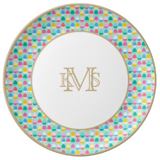 Pastel Easter Eggs Two-Toned Multi on Mint Dinner Plate