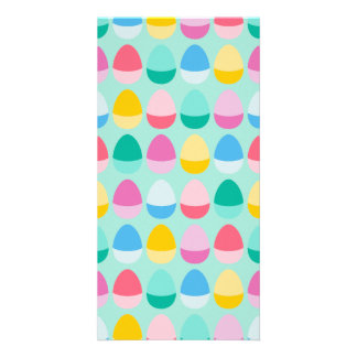 Pastel Easter Eggs Two-Toned Multi on Mint Photo Card