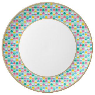 Pastel Easter Eggs Two-Toned Multi on Mint Porcelain Plate