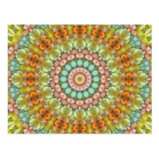 Pastel Easter Jellybean Mandala Kaleidoscope Postcard