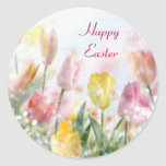 Pastel Easter Tulips Classic Round Sticker