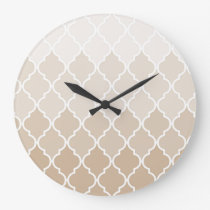 Pastel elegant brown cream quatrefoil pattern large clock