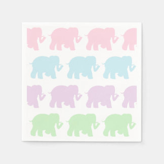 Pastel elephants cocktail napkins