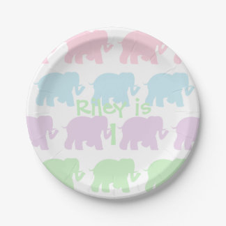 Pastel elephants paper plate