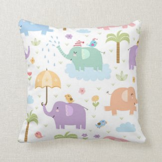 Pastel Elephants Pillow